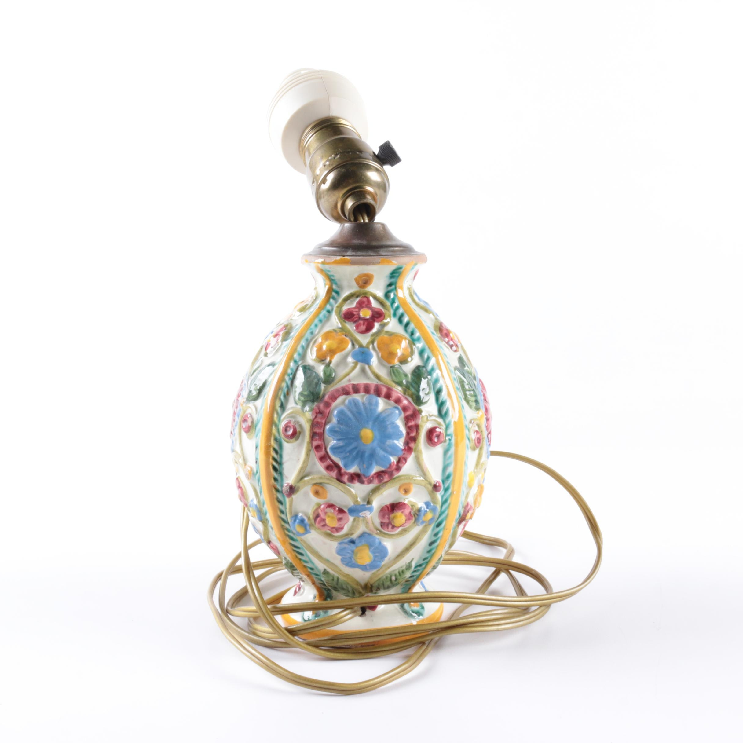 Hand-Painted Italian Ceramic Table Lamp with Floral Decoration