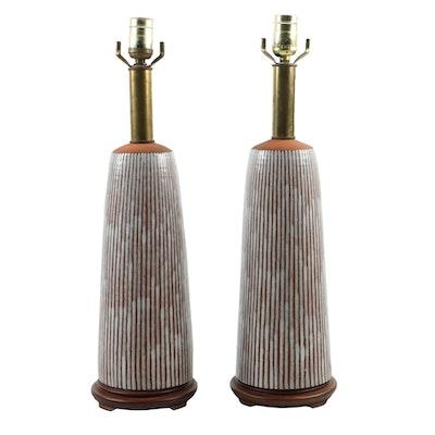 Mid Century Modern Earthenware Stripe-GlazedTable Lamps