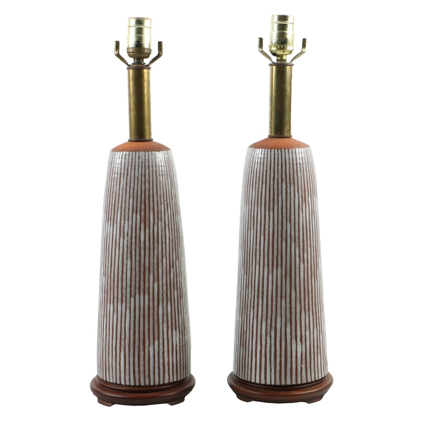 Mid Century Modern Earthenware Stripe-GlazedTable Lamps