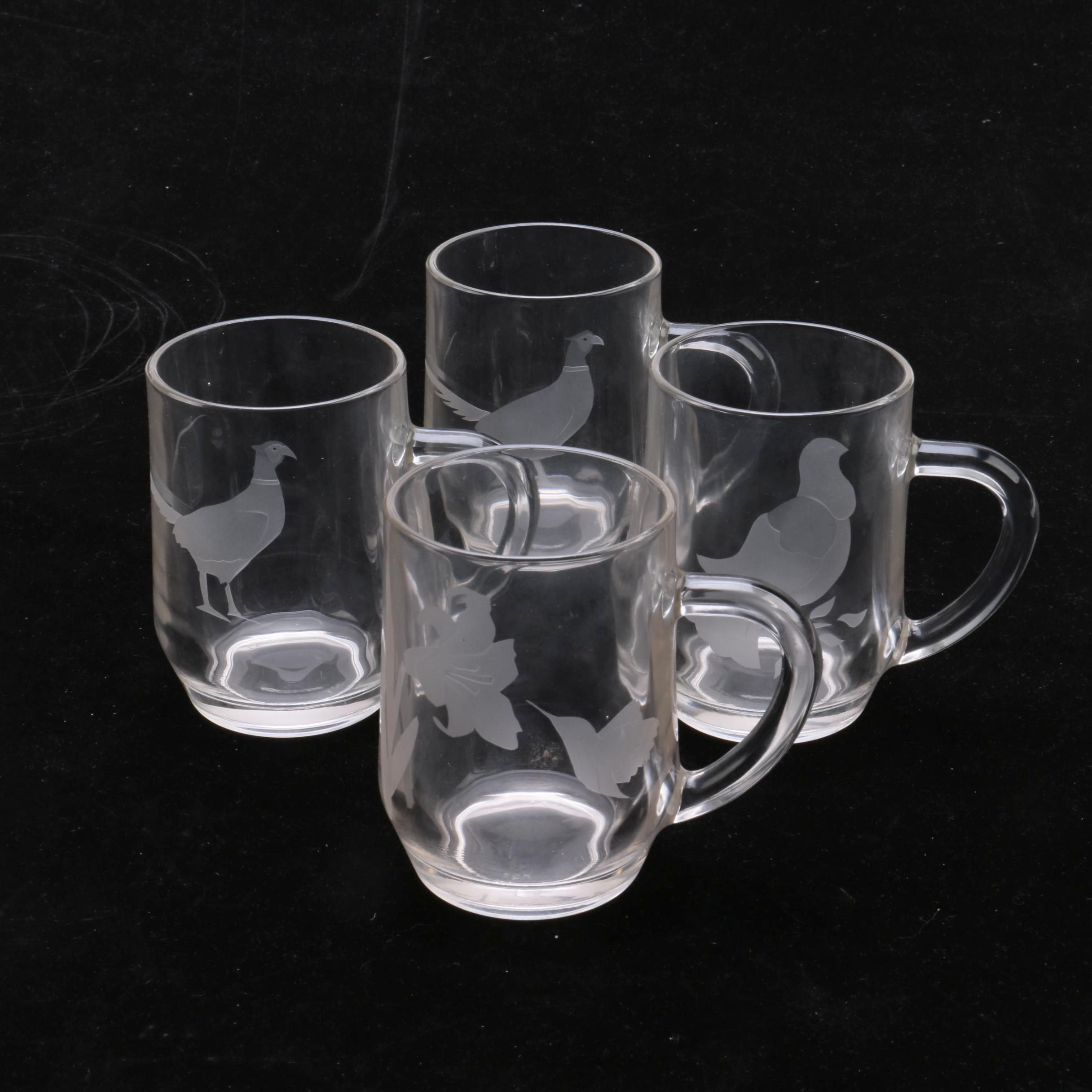 Bird and Flower Themed Etched Glass Mugs