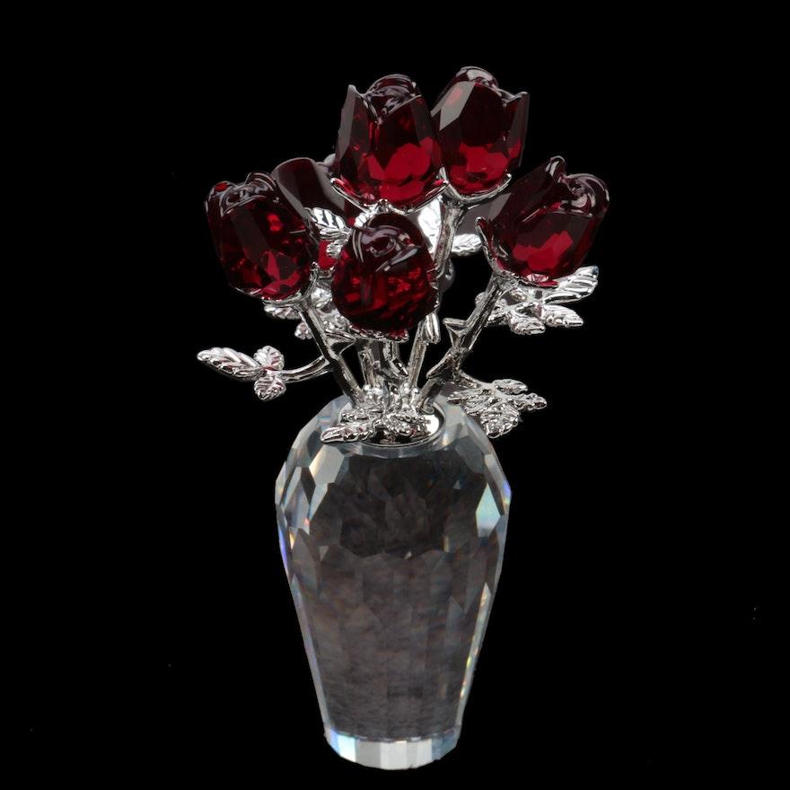 Swarovski Flower Dreams Red Crystal Roses In Vase Ebth