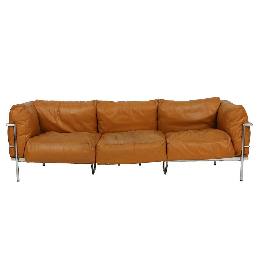 Le Corbusier Orange Leather and Chrome Sofa
