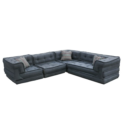 Modernist Style Four-Piece Sectional Sofa in Grey, Button-Tufted Upholstery