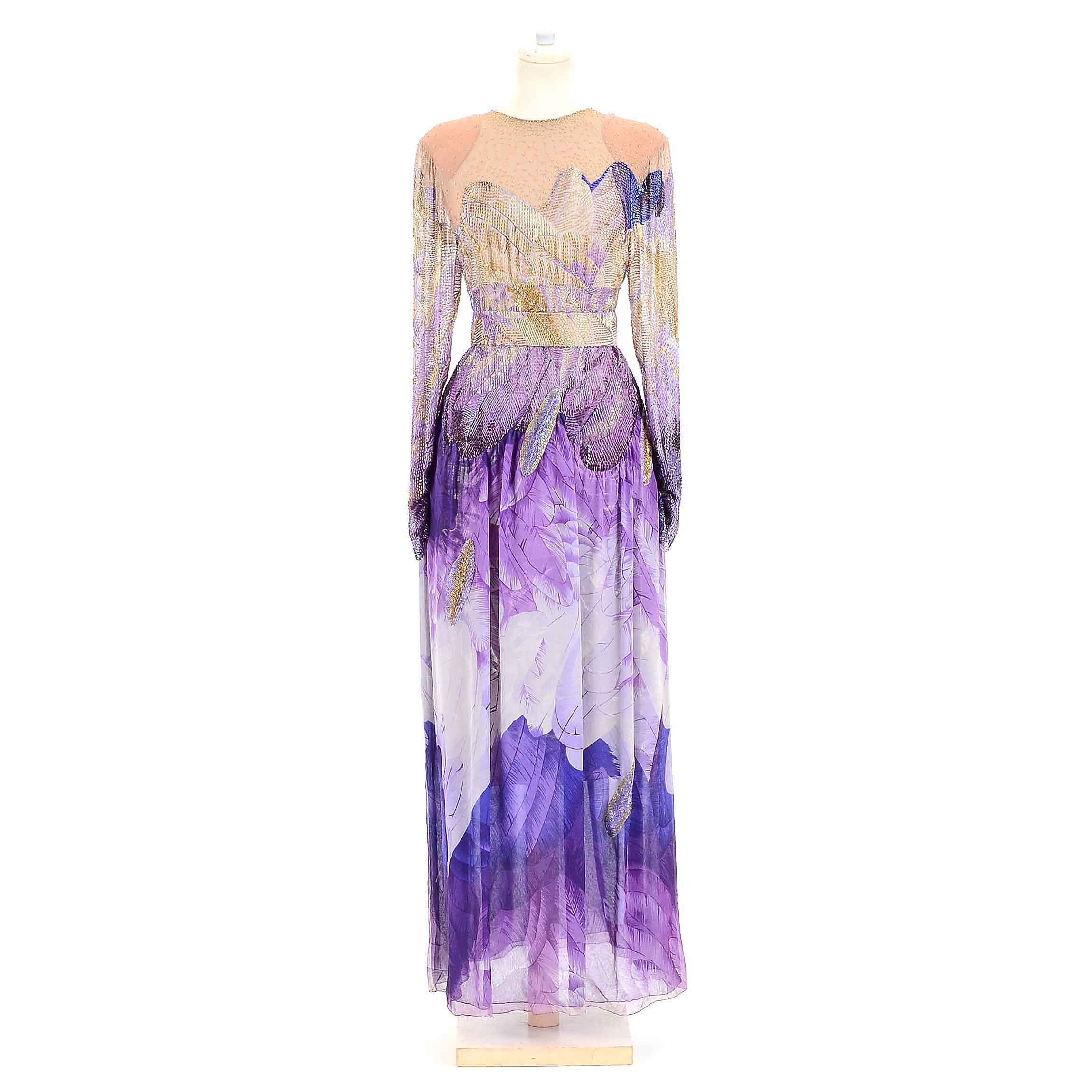 Vintage Beaded Silk Gown