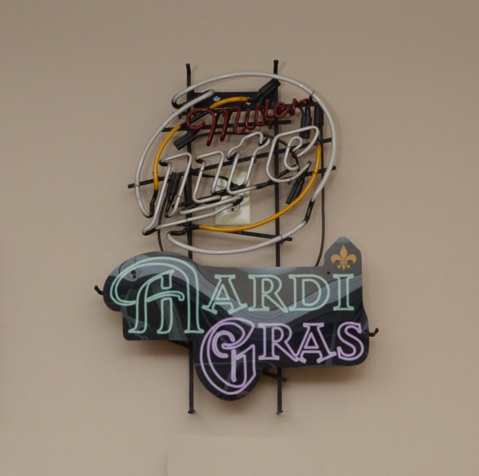 Miller Light Beer/Mardi Gras Neon Advertising Sign