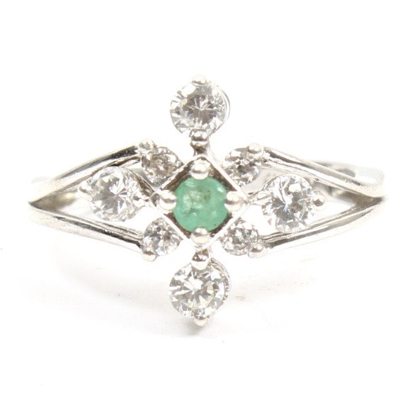 Sterling Silver Emerald and Cubic Zirconia Ring
