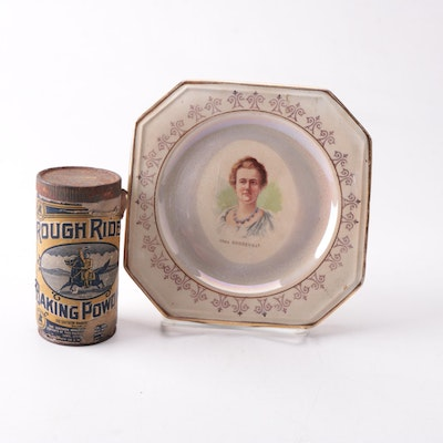 Teddy Roosevelt Themed Collectibles, Including Rough Riders Baking Powder Tin
