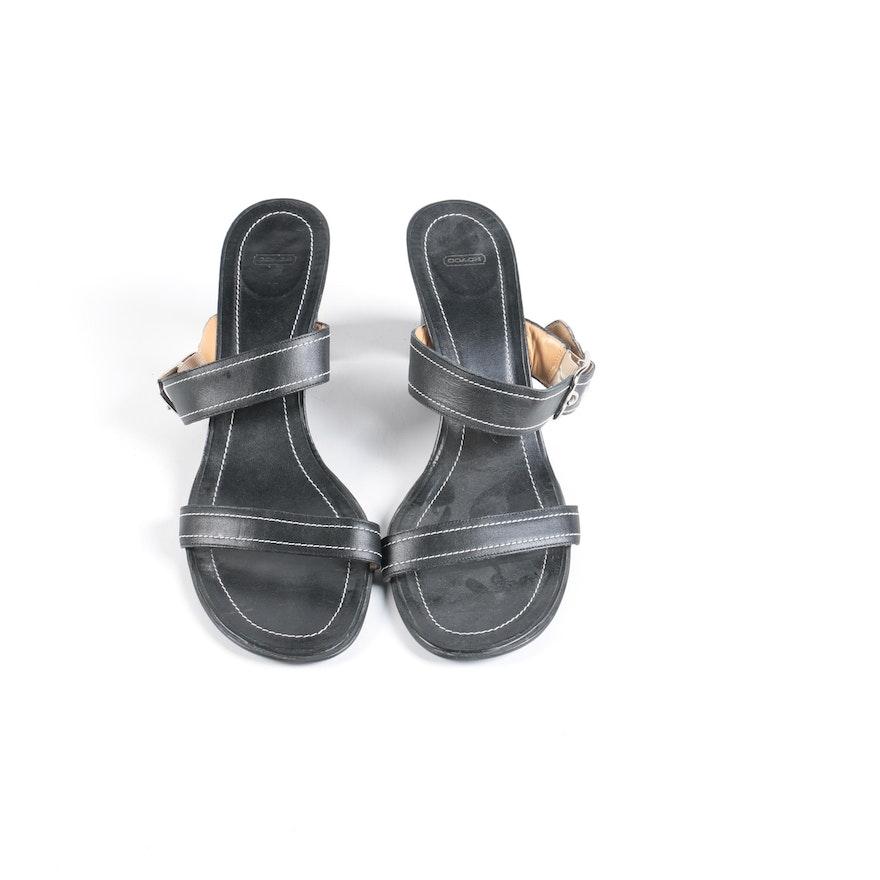 9ffc8be1e5 Coach Nicki Black Leather Sandals : EBTH