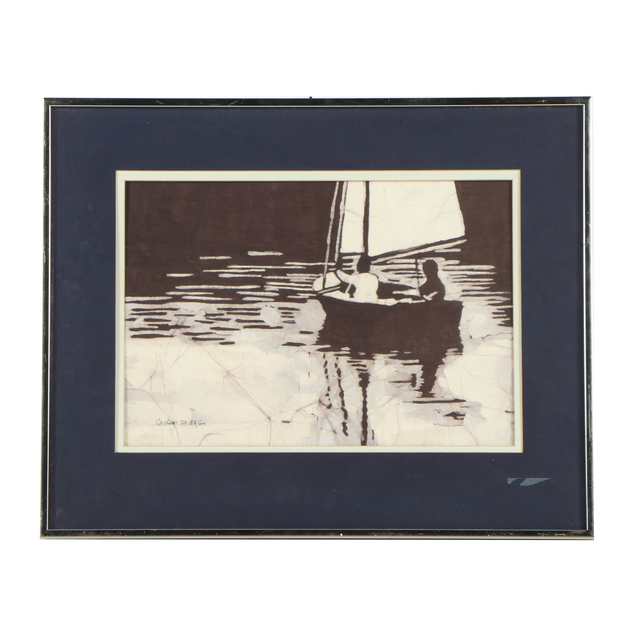 "Sallie & Walt Carlson Limited Edition Batik ""Sailing Together"""