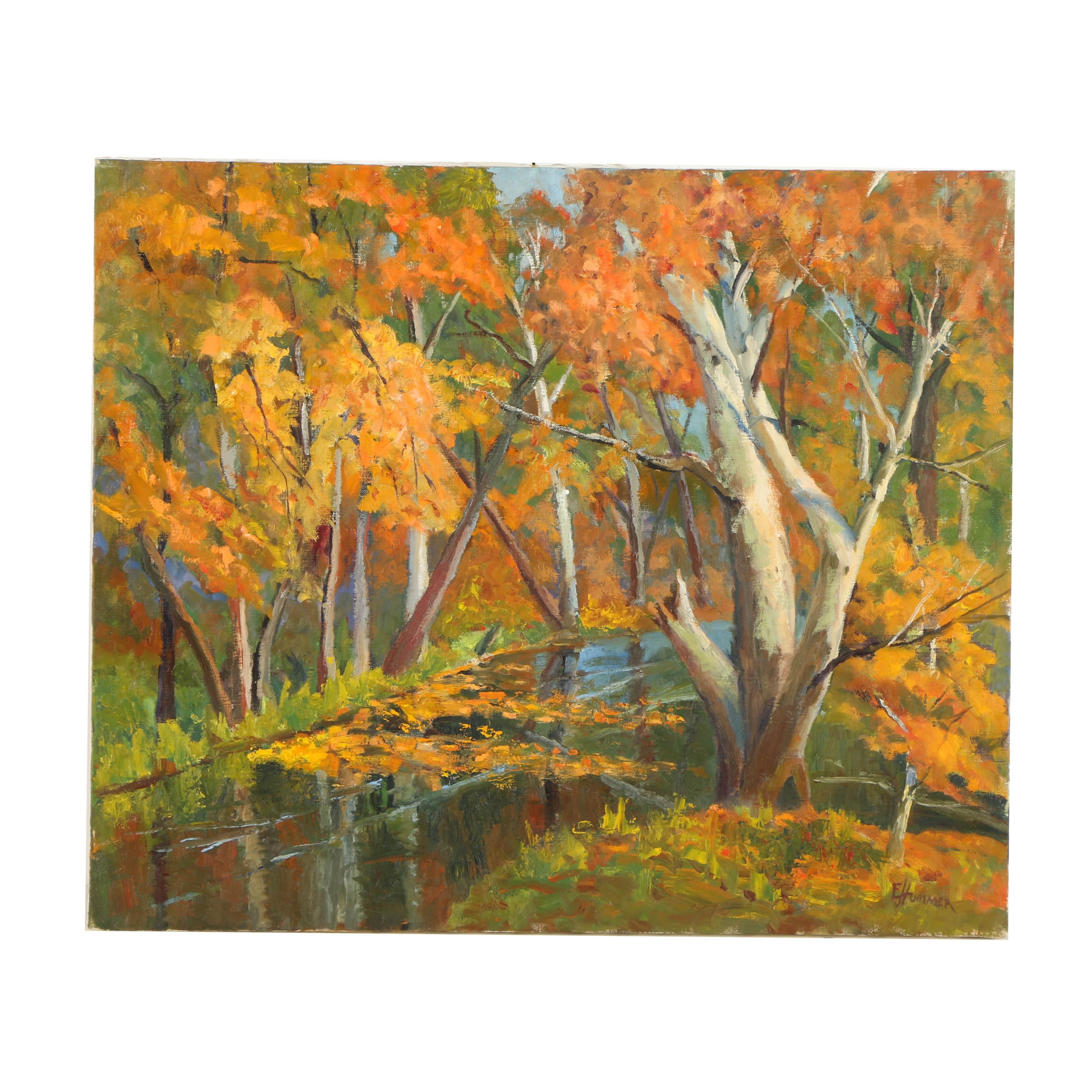 "Judge Ed J. Hummer Oil Painting ""Mirror Pond"""