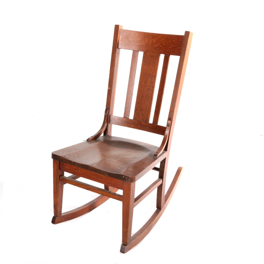 Vintage Arts And Crafts Style Oak Rocking Chair : EBTH