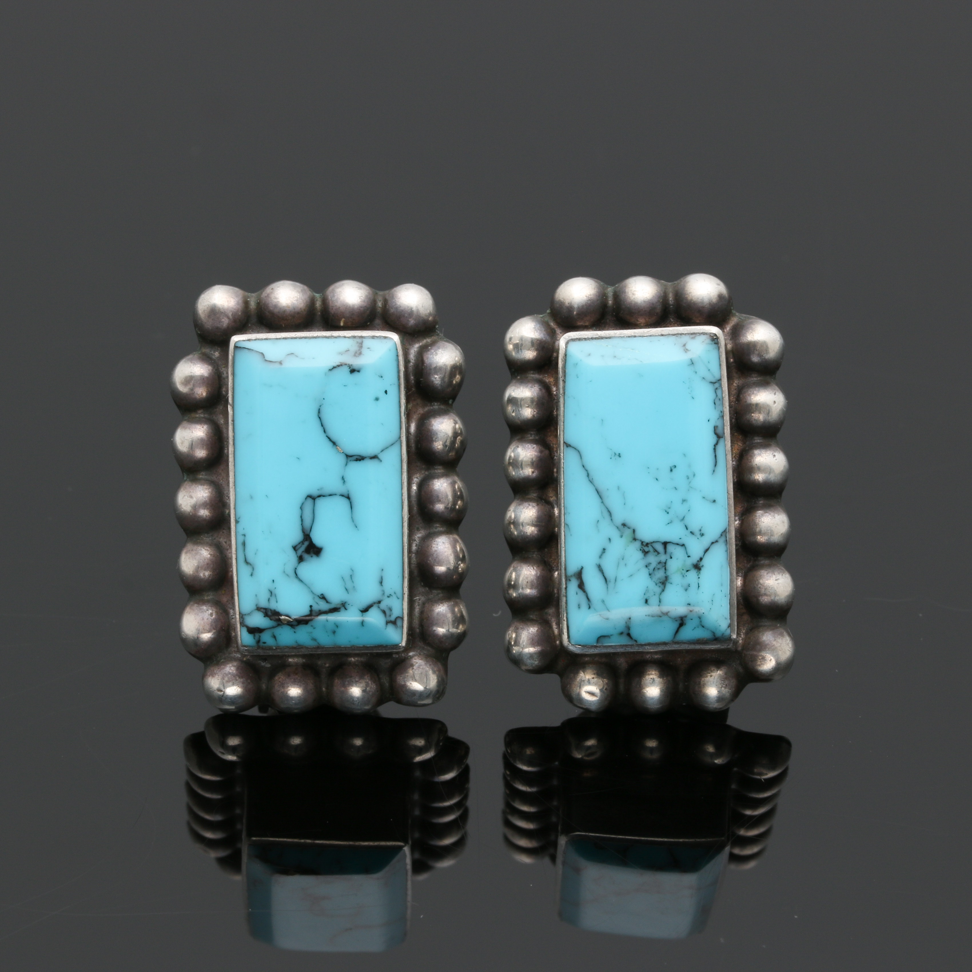 Vintage Calderon Taxco Sterling Silver Turquoise Scalloped Earrings