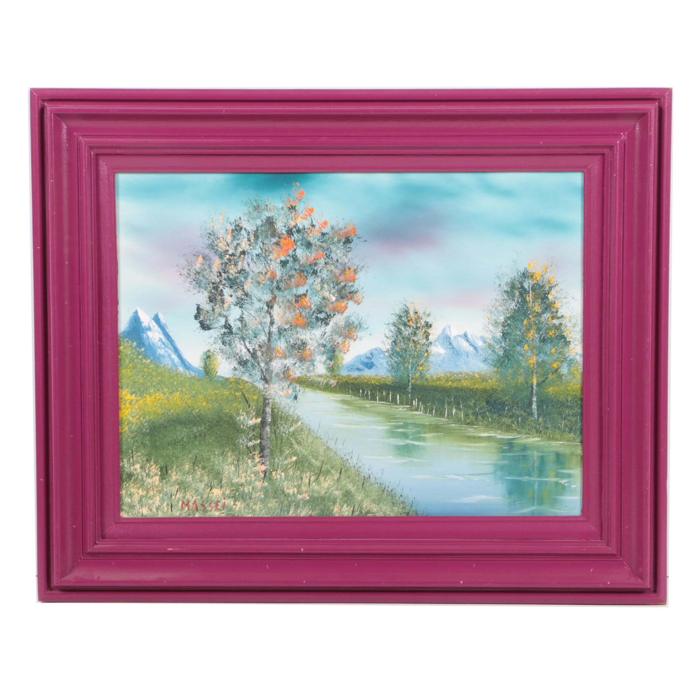 Massei Oil Painting on Canvas of Wooded Landscape