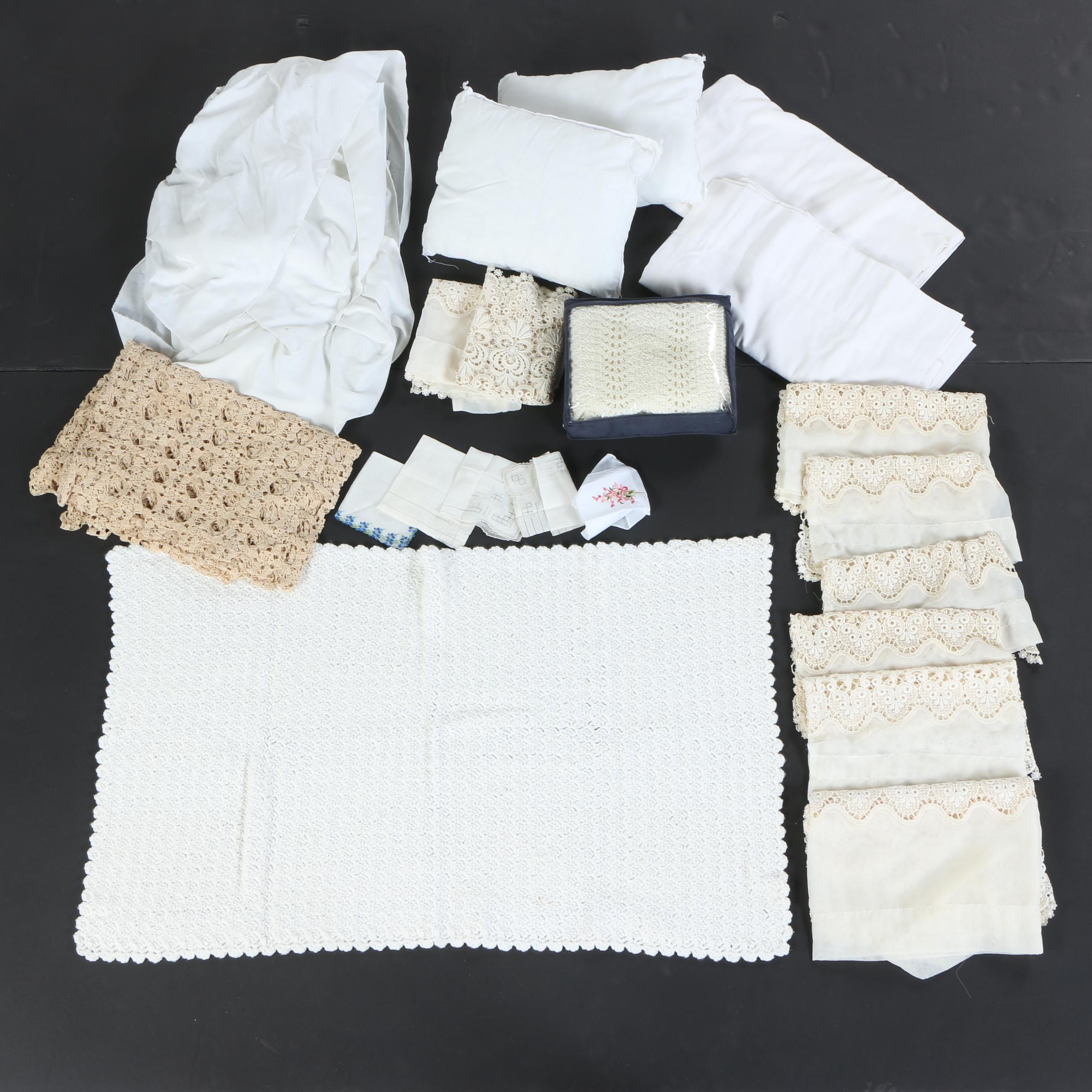 Vintage White Bed and Table Linens