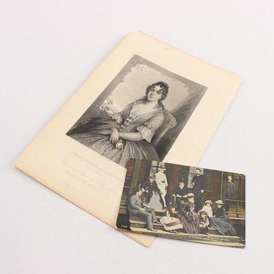 Postcard of President Grant, with Engraving of Martha Jefferson Randolph