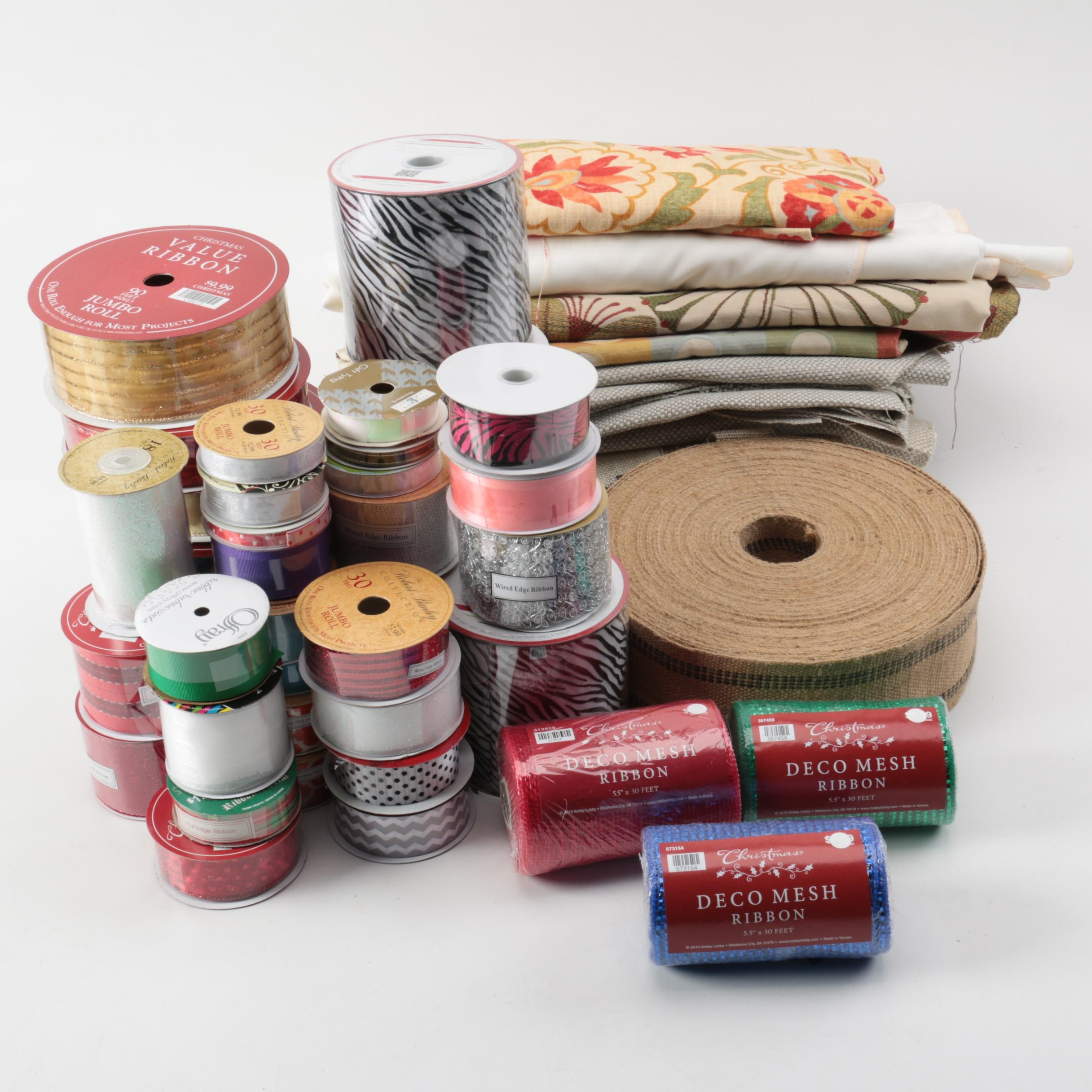 Craft Supplies Including Ribbons and Fabric