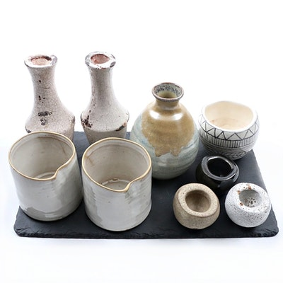 Hand Thrown Stoneware Vessels and Slate Tray