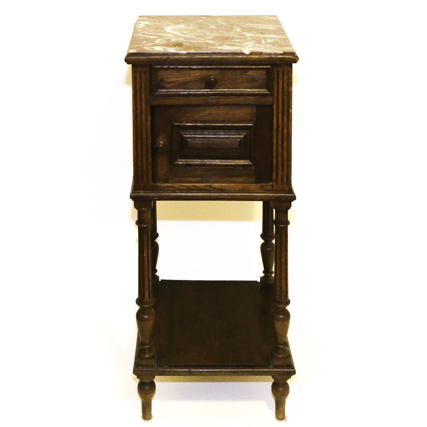 Antique Continental Marble Top Oak Bedside Table