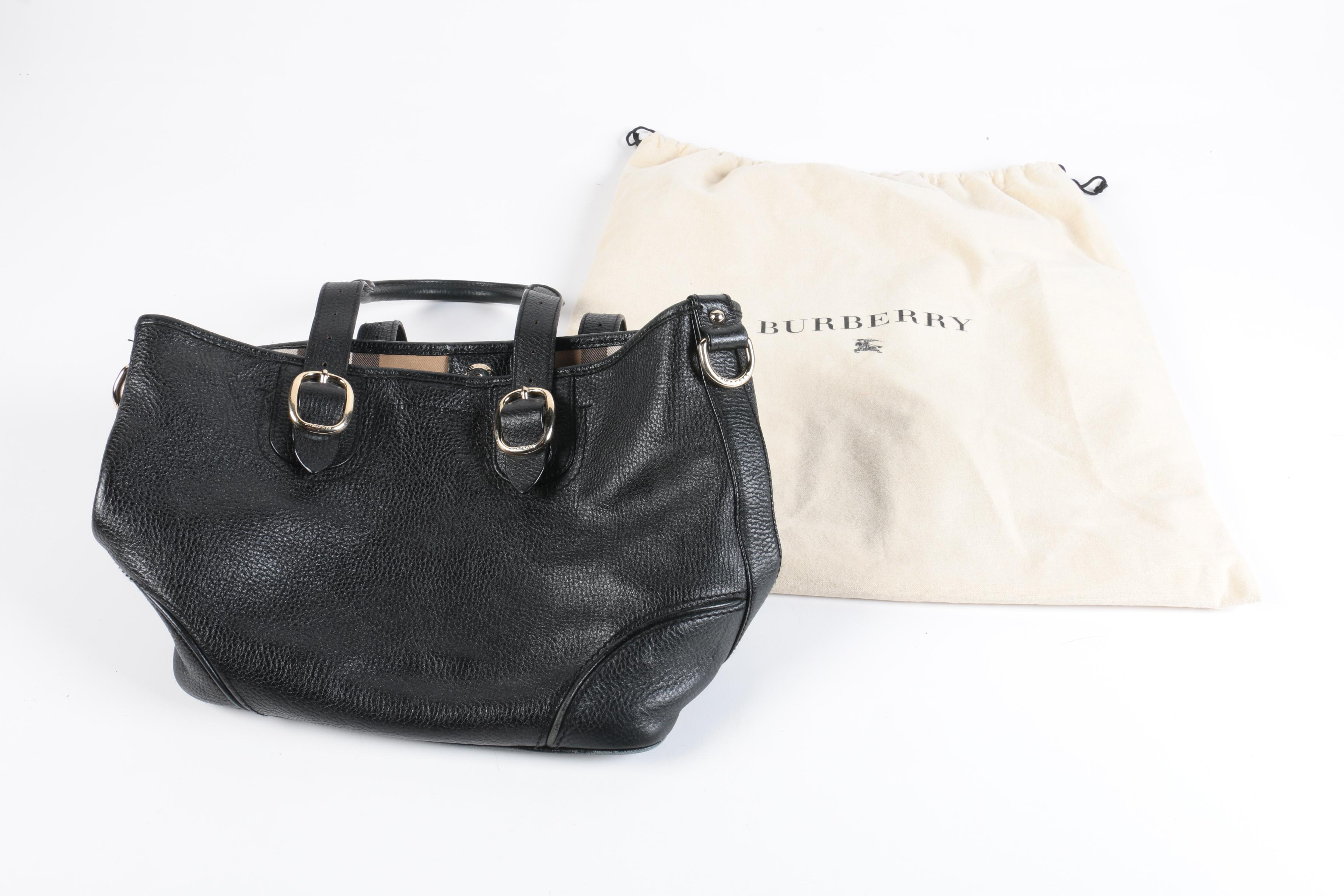Burberry Black Pebbled Leather Handbag
