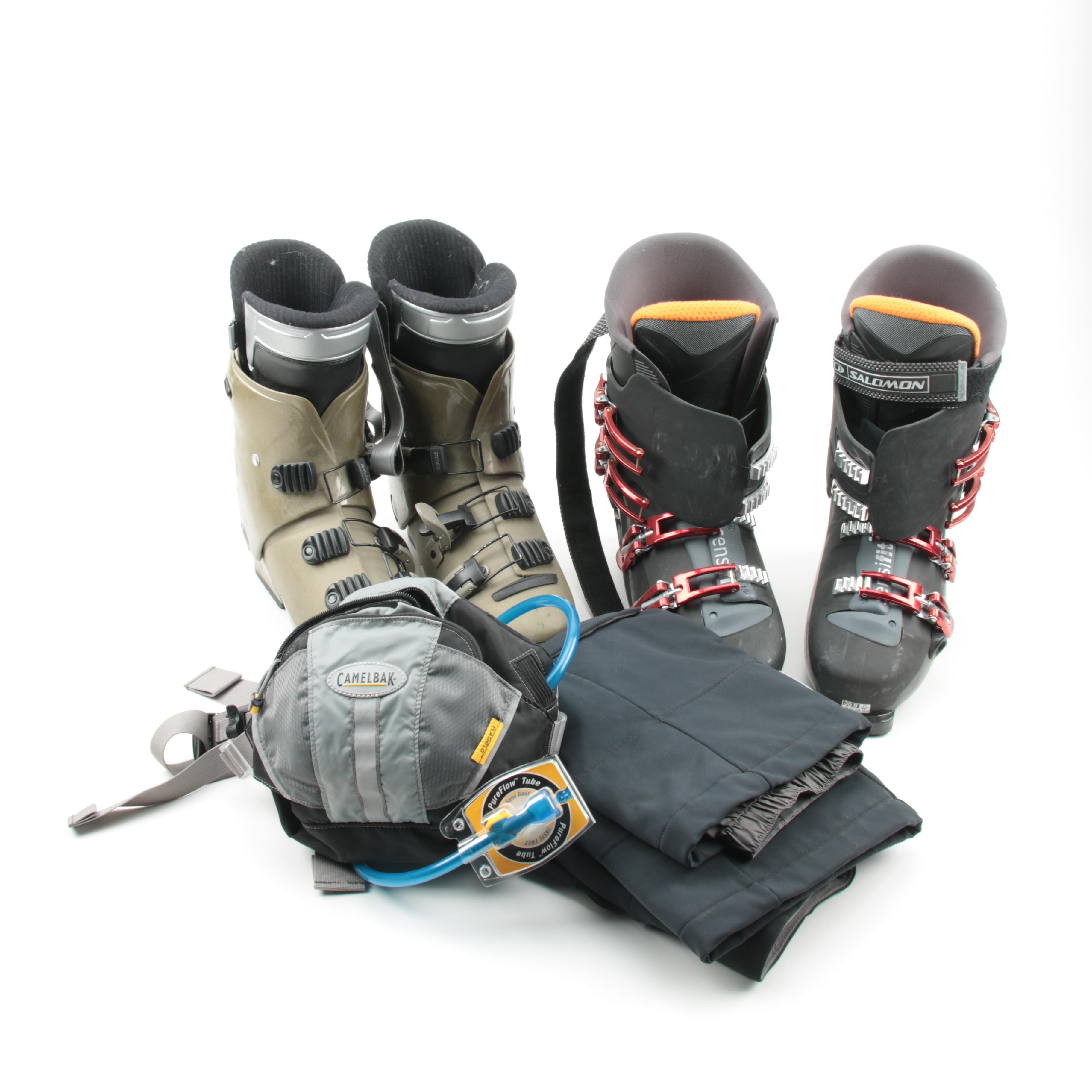 Salomon and Nordica Ski Boots with CamelBak Hydration Pouch and Ski Pants