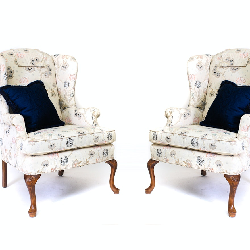 pair of wingback chairs by pembrook chair company ebth