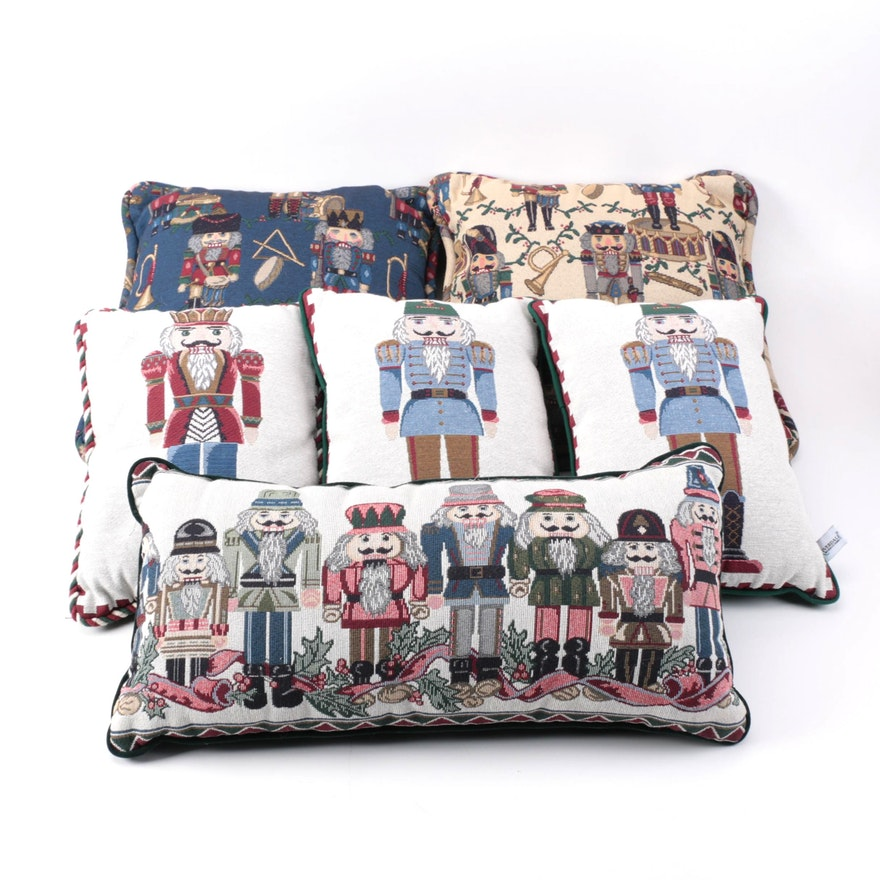 Selection Of Decorative Pillows With Nutcracker Theme Including