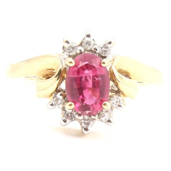 10K Yellow Gold Pink Tourmaline and Diamond Ring