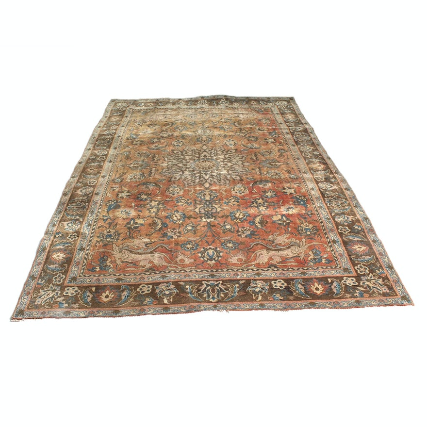 """Hand Knotted Persian Tabriz Wool Area Rug Ebth: Antique Hand-Knotted Persian Tabriz """"Hunting"""" Rug"""