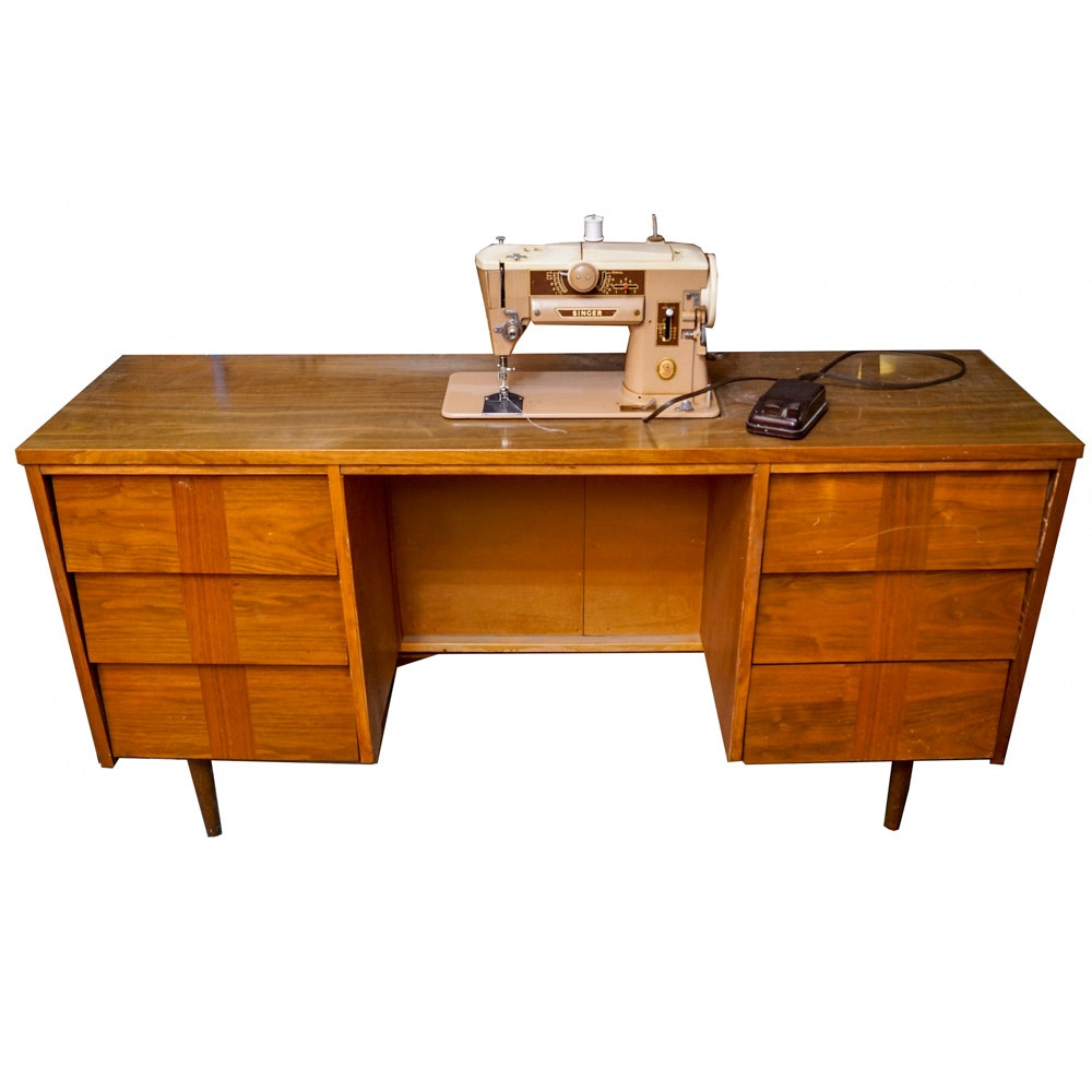Mid Century Modern Desk by Ward with Singer Sewing Machine