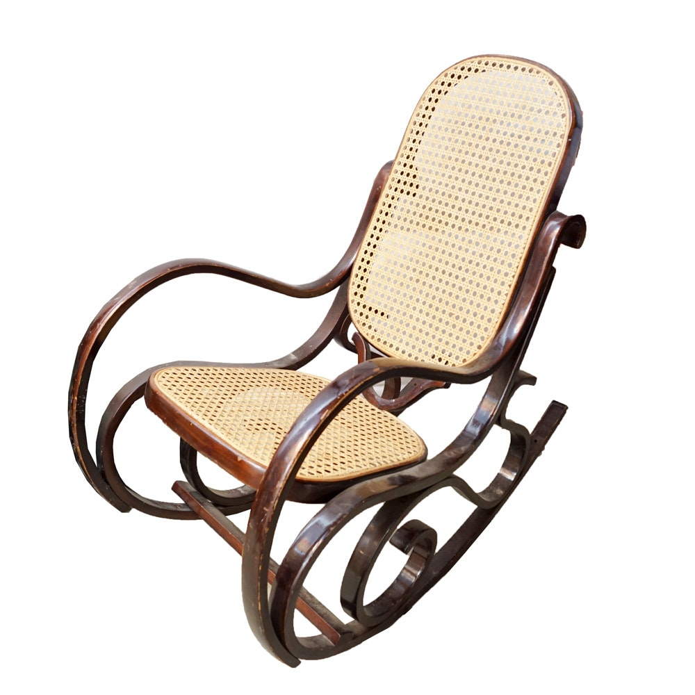 Diminutive Mahogany-Finished Bentwood and Caned Rocking Chair