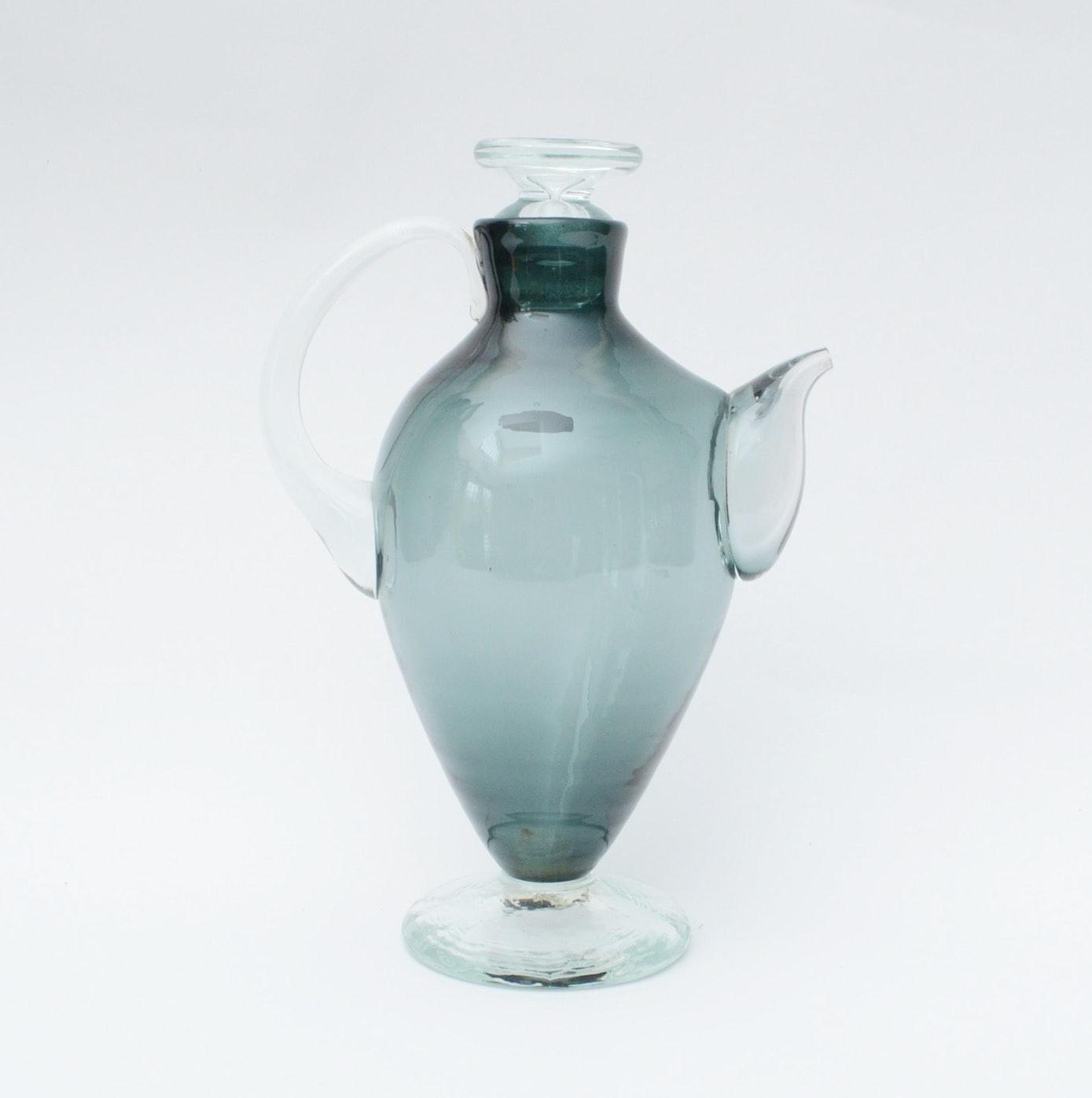 Mid Century Modern Blenko Glass Pitcher (artist, Wayne Husted)
