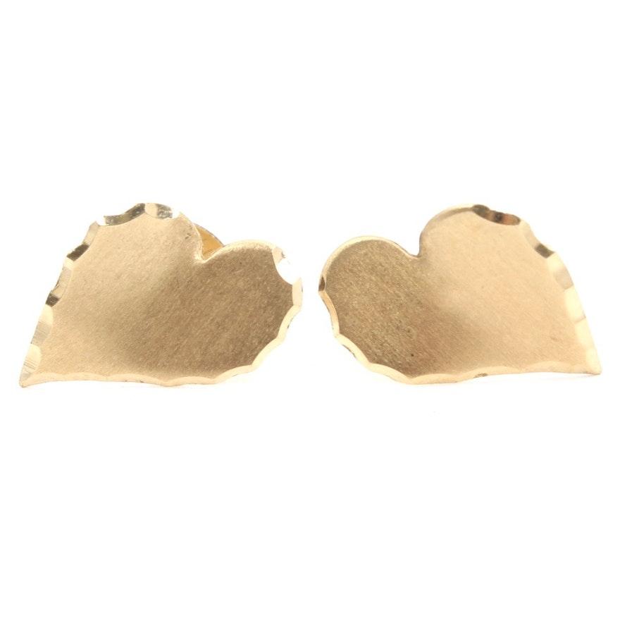 14k Yellow Gold Leaf Shaped Earrings