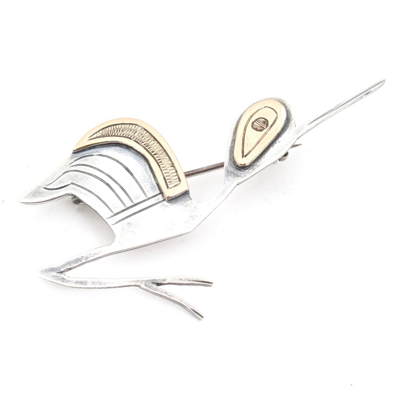 Sterling Silver and 18K Yellow Gold Brooch