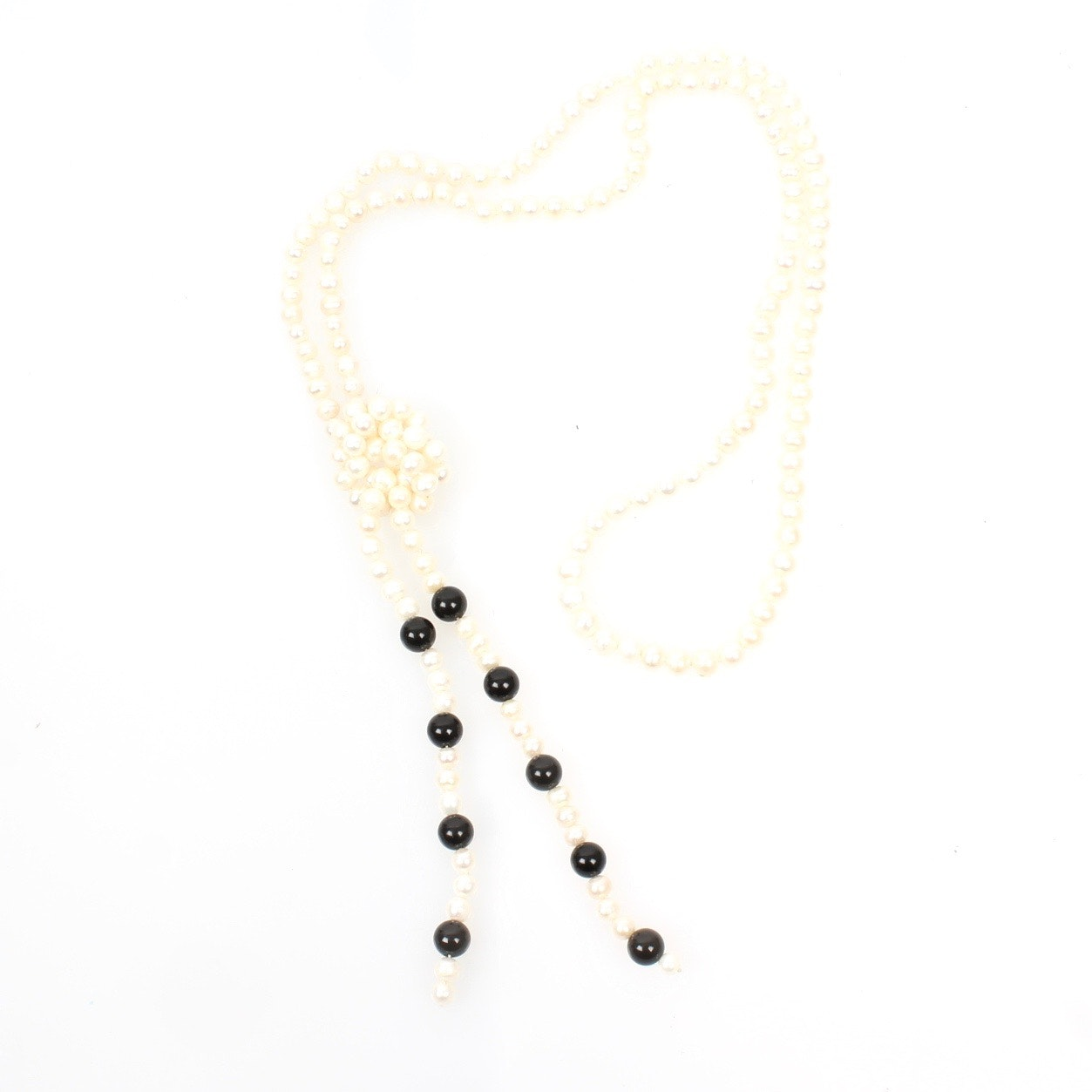 Freshwater Pearl and Onyx Lariat Necklace