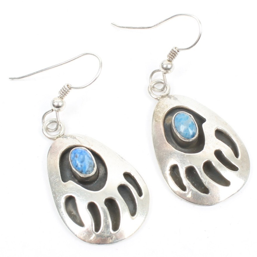 Merle House Navajo Diné Sterling Silver Lapis Bear Claw Earrings