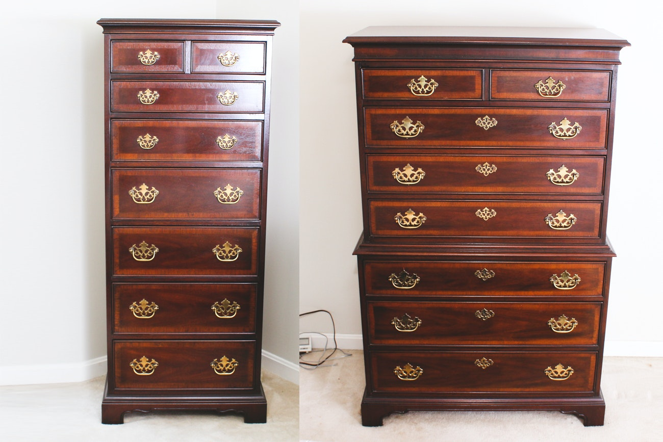 Chippendale-Style Mahogany Highboy and Chest-on-Chest by Drexel Furniture