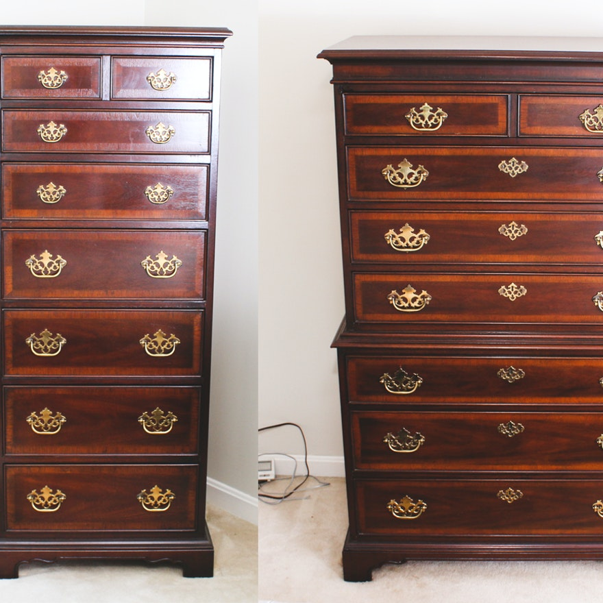 Chippendale Style Mahogany Highboy And Chest On Chest By Drexel Furniture
