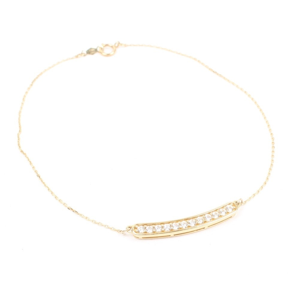 14K Gold Ankle Bracelet with Cubic Zirconia : EBTH