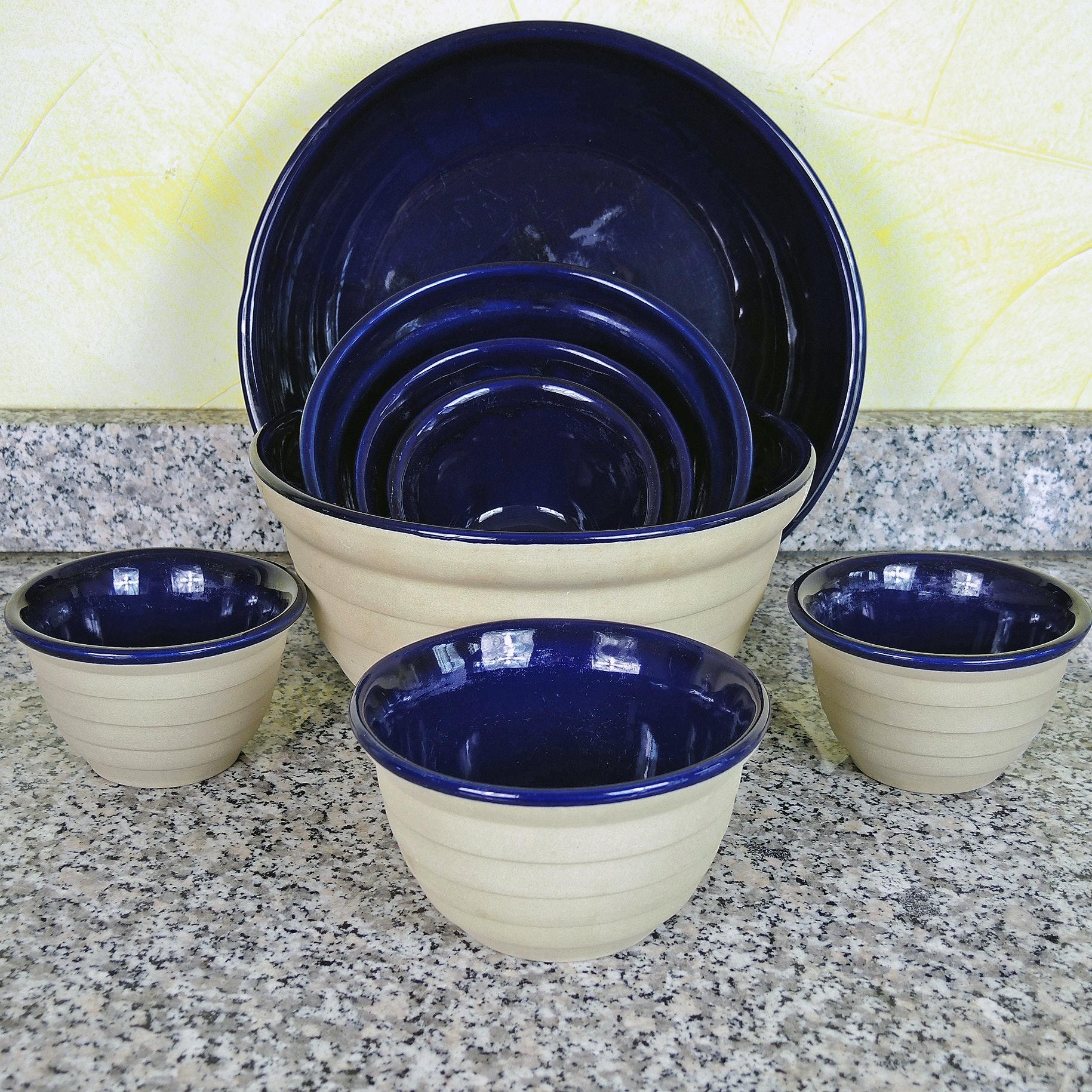 Cobalt Blue Enamel Stoneware Bowls