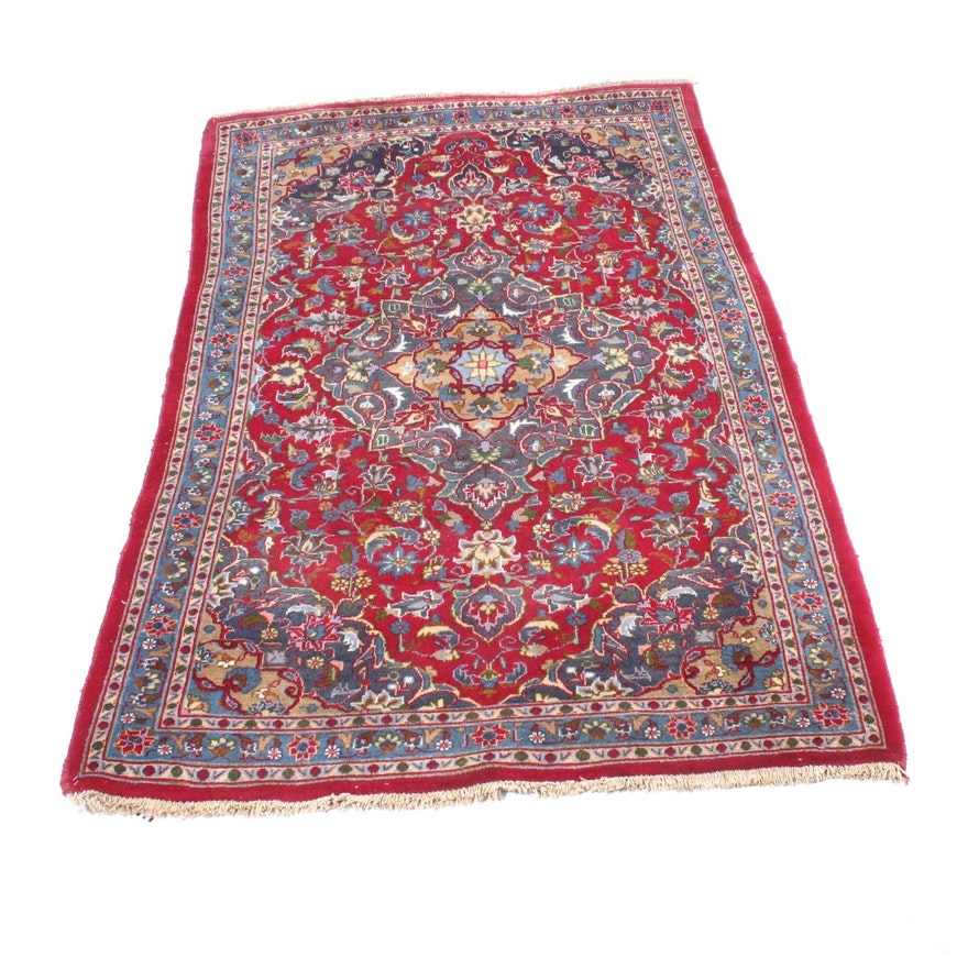 Persian Hand Knotted Kashan Silk And Wool Area Rug Ebth: Vintage Hand-Knotted Persian Kashan Rug : EBTH