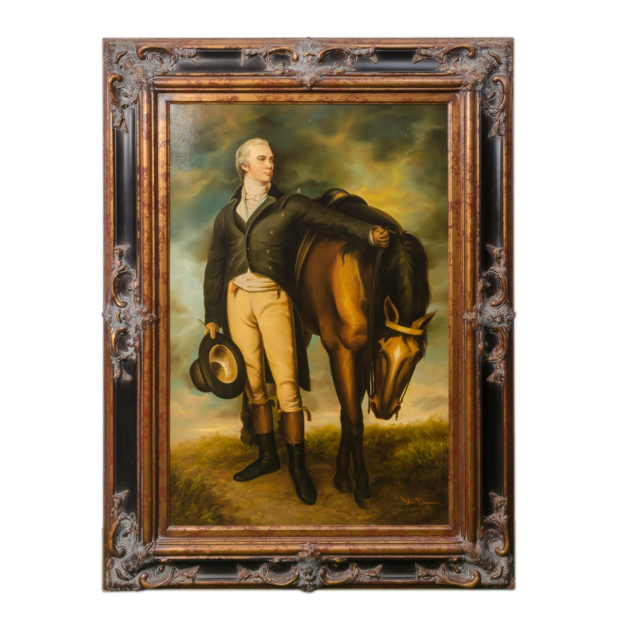 Oil Painting of a Man and Horse