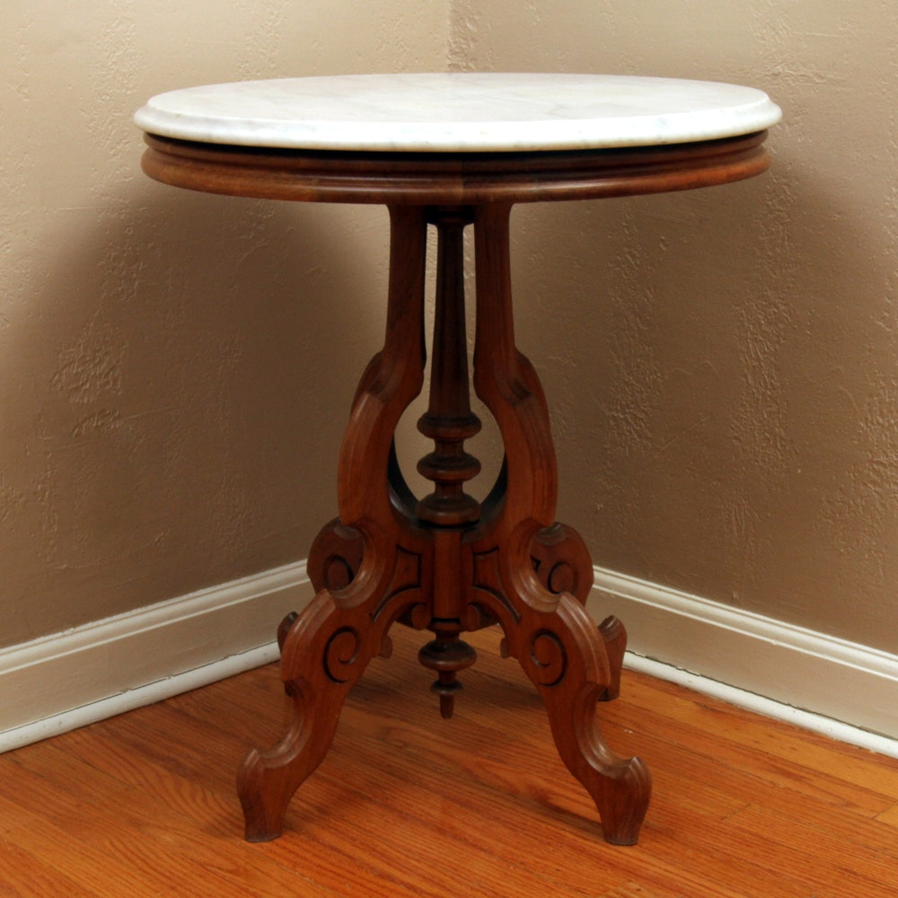 Antique Eastlake Walnut and Marble Topped End Table