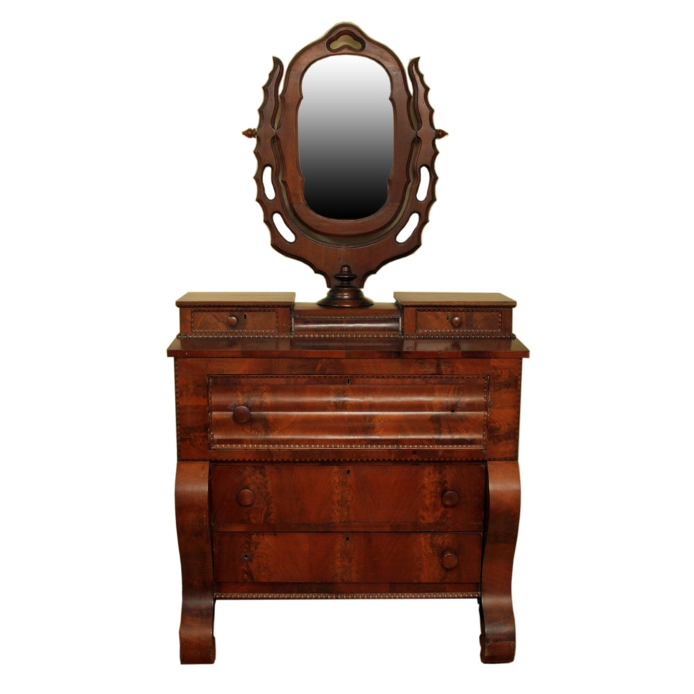 Antique Empire Style Walnut Chest with Mirror