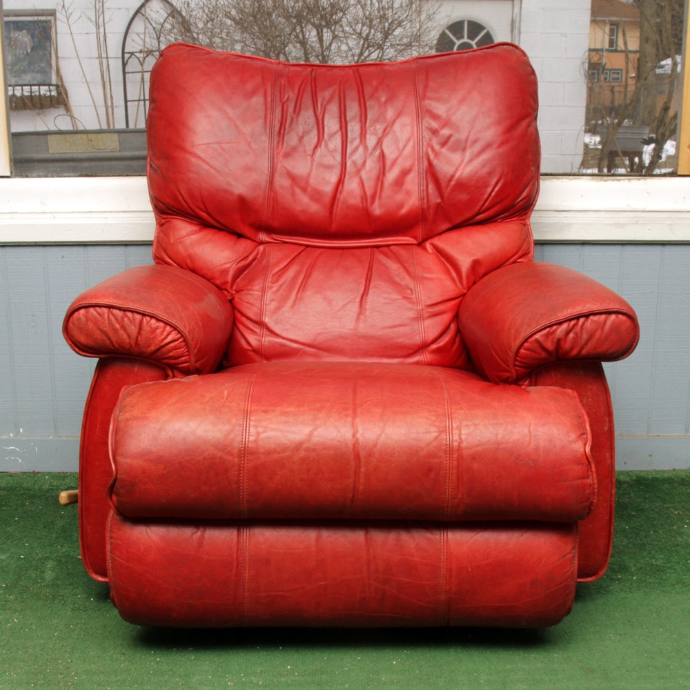 Vintage Red Leather Recliner by La-Z-Boy