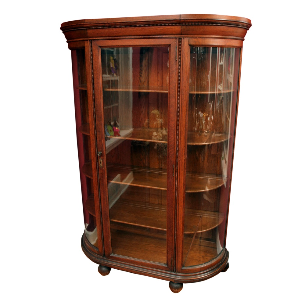 Antique Oak Demilune Curio Cabinet