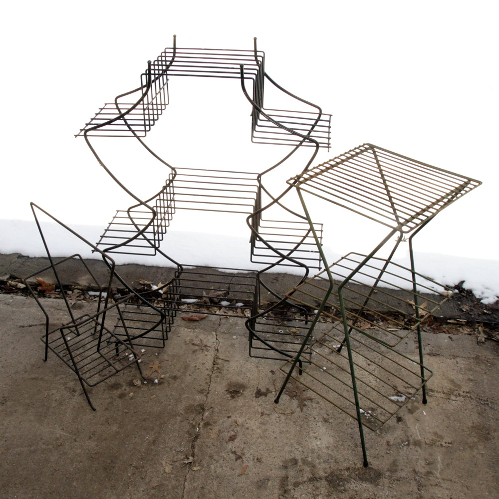 Assortment of Wire Stands Including Plant and Record
