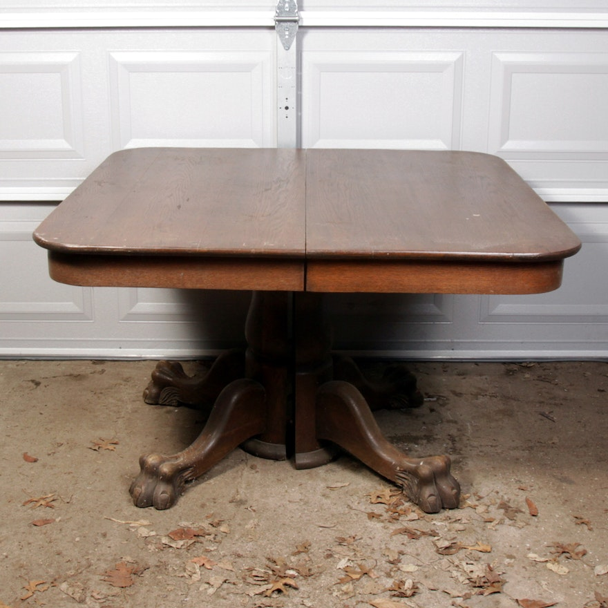 Antique Oak Claw Foot Pedestal Table Ebth
