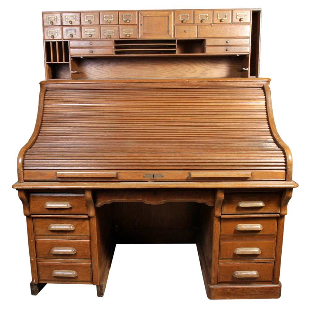 Vintage Roll Top Shelbyville Desk