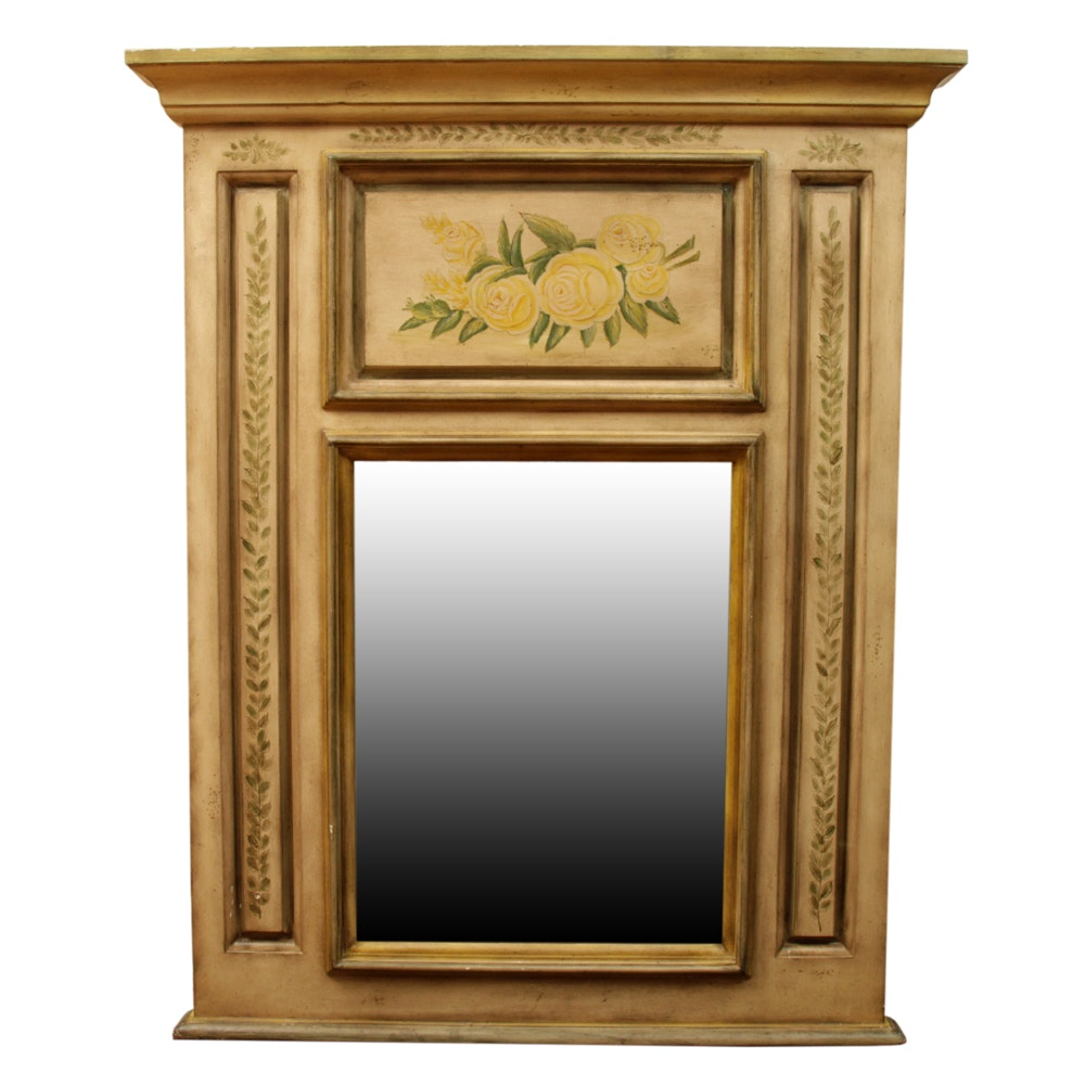 Floral Motif Wooden Wall Mirror