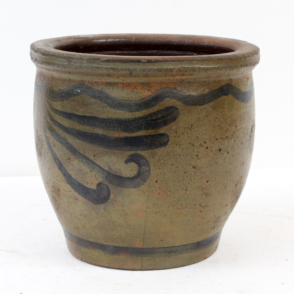 Antique Stoneware Crock with Painted Scrolling Decoration